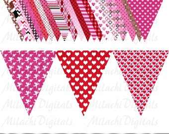 Valentine's Day Triangle Flag Banner Clip Art  Digital Clipart Commercial Use - printable clipart - Instant Download - M233