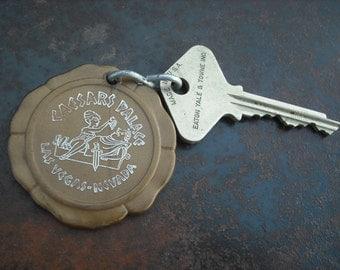 """Vintage """"Caesars Palace"""" Hotel Room Key & Fob #225  -Las Vegas, Nevada-"""