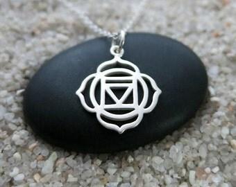 Root Chakra Necklace, Sterling Silver Root Chakra Charm, Chakra Jewelry