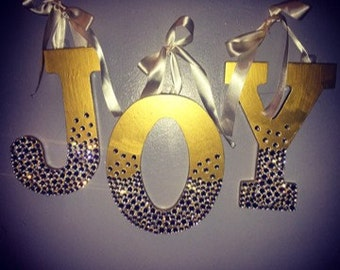 Diamond and Gold Rhinestone Trickle Holiday Wall Letters