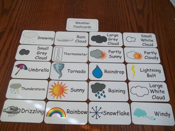 20 Weather Picture Word Flash Cards on Pre K Sight Words Printables