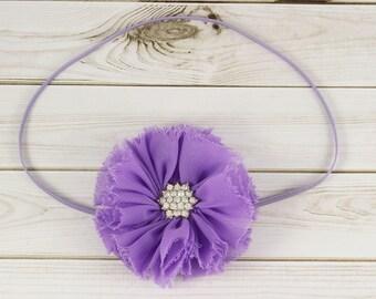 Lavender Baby Headband, Lavender Headband, Purple Headband, Rhinestone Headband, Shabby Chiffon Headband, Newborn Headband, Shabby Chic