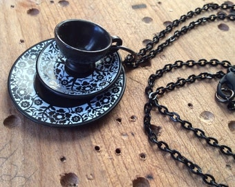 Miniature Black Tea Cup Necklace -- FREE SHIPPING