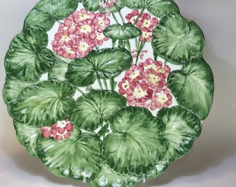 Italian Platter, Embossed/Molded and Hand Painted with Geraniums and Leaves - Pink and Red Flowers, Green Leaves in Bold Colors - Chop Plate