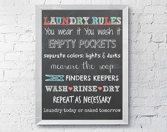 Laundry Rules Room Decor Printable Wall Art Sign