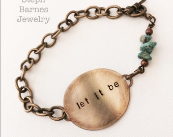 Let it be bracelet in bronze with turquoise detail
