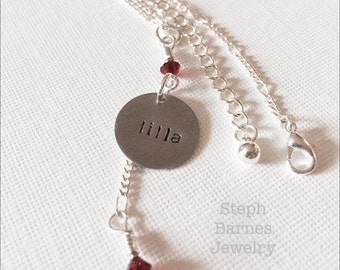 Custom name and birthstone necklace for a girl