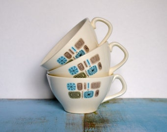Vintage 1950's Canonsburg Pottery Temporama Dura Gloss Coffee / Teacups - Set of Three (3)
