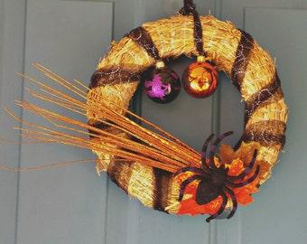 Halloween Spider Wreath, Halloween Ornament Wreath, Fall Straw Wreath