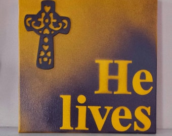 He Lives Sign, Easter wreath holiday wreath easter sign easter décor, wall hanging, home decoration, house decoration