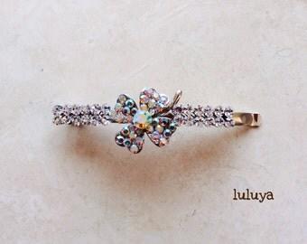 High Quality Clear AB Crystal Rhinestone Hair Clip Bobby Pin Pretty Girly Flower