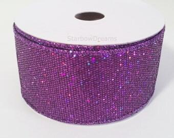 """2"""" Purple Metallic Bling Sparkling Disco Ribbon - 10 Yards"""