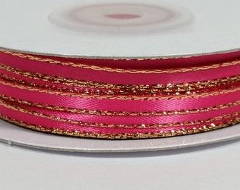"1/8"" Satin Ribbon with Gold Edge - Hot Pink"