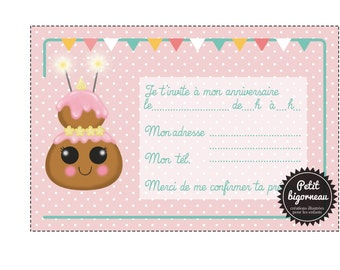 "Printable birthday card invitation ""chou""/PDF"
