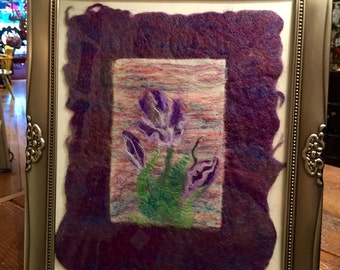 "Wet and Needle Felted Wall Hanging- ""Irises"""