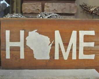 Home Wisconsin Rustic Wood Barn Board Sign