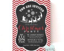Christmas Party Invitation // Christmas Printable // Printable Holiday Invitation - Snowflake Reindeer Santa - Printable No.483
