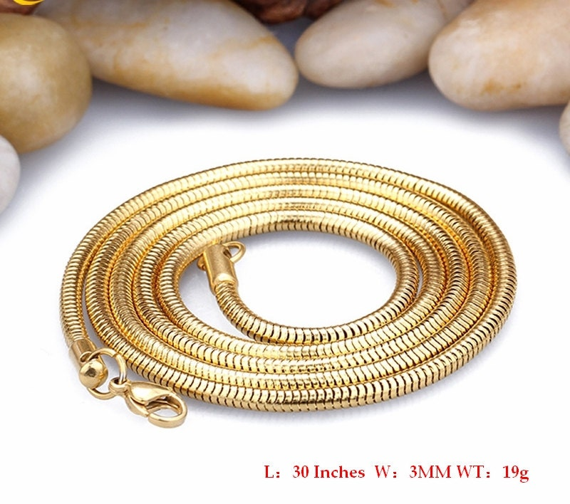 0 9mm 3mm 18k Gold 316l Stainless Steel Round Snake Chain Link