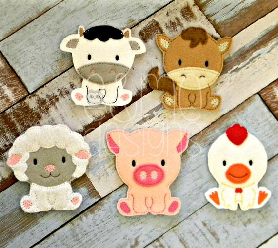 Items similar to farm animal finger puppet set embroidery
