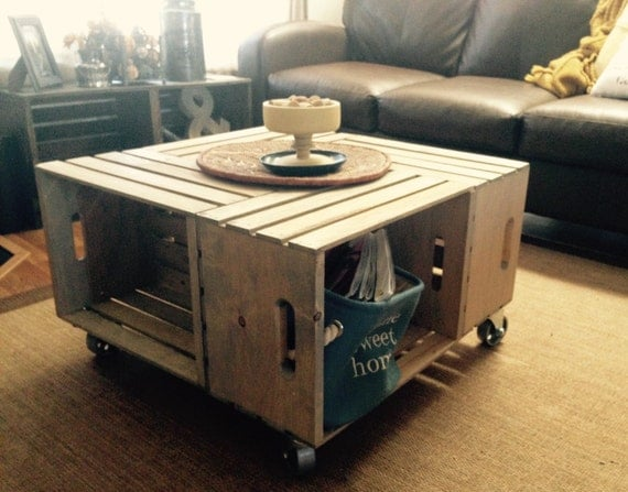 Wood crate coffee table with industrial by sugarriverrestore for Crate style coffee table