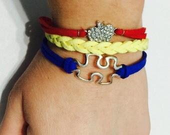 Leather braided bracelet.  Autism Awareness!