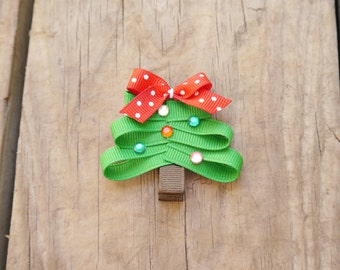 Christmas Tree Ribbon Sculpture Bow; Festive Holiday Tree Hair Clip