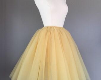 Gold Tulle Skirt - Adult Bachelorette Tutu- adult tutu,  adult tulle skirt