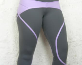 Women's Yoga Capri Pants in Gray and Purple Soft and Stretchy