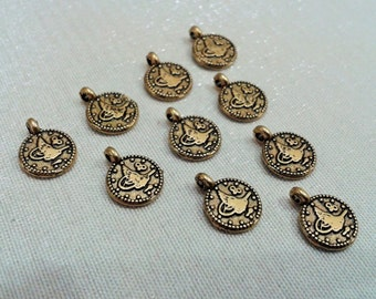 100 Pcs Antique Bronze 8 x 10 mm Ottoman Coin Tughra Connector -1 Hole -Turkish Jewelry Findings