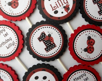 Ladybug Cupcake Toppers - Set of 12 Personalized Birthday Party Decorations - Red, Black
