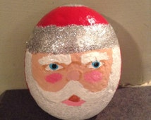 Hand painted Santa Claus garden rock. Christmas decor. Santa decor. Christmas garden decor