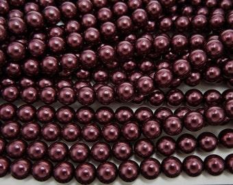 Royal Purple Pearl, Czech Round Glass Imitation Pearls in 2mm, 3mm, 4mm, 6mm, 8mm, 10mm, 12mm
