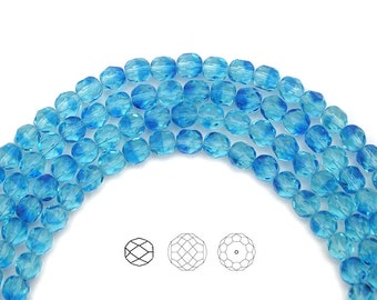 6mm (68pcs) Atlantis 2-tone color, Czech Fire Polished Round Faceted Glass Beads