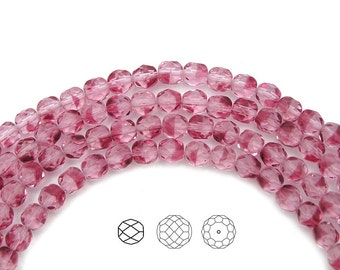 6mm (68pcs) Hortensia 2-tone color, Czech Fire Polished Round Faceted Glass Beads