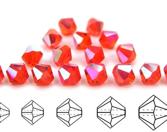 Hyacinth AB coated, Czech MC Bicone Bead (Rondell, Diamond Shape) in 3mm, 4mm and/or 6mm, Orange AB Color