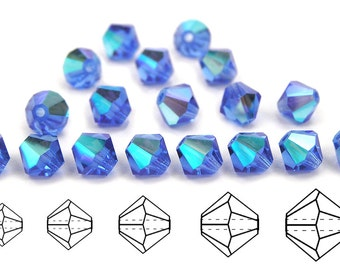 Sapphire AB coated, Czech MC Bicone Bead (Rondell, Diamond Shape) in 3mm, 4mm and/or 6mm, Blue Beads, Aurora Borealis Crystals
