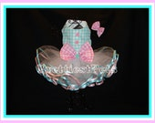 Gingham Princess Dog Dress Easter Dog Dress Bonus Hair Bow and Easter Bow Attachment!