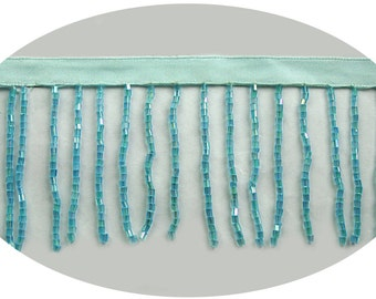 2 or 3 inches -- Aqua Blue Turquoise Beaded Fringe Trim with Glass Short Bugle Beads Dance Costume DIY Sewing Notions Supplies BB058