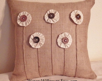 Burlap Pillow with Five Muslin Flowers - Handmade