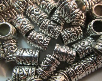 10 Ornate Carved Tube Spacer Beads- European Charms 6x8mm with 4.5mm Hole Size