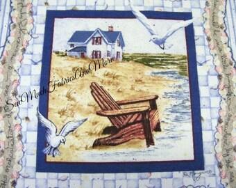 "Pair~(2) Diane Morgan's BY THE SEA fabric pillow panels~Beach House~seashells~17""x18""~cotton~Nautical~Inspirational"