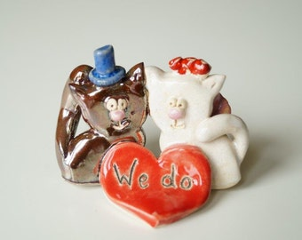 Wedding Cake Topper, Cat Cake Topper, Ceramic Cat Couple, Cake Topper by Her Moments