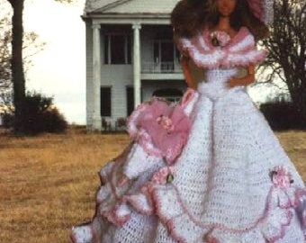 Crochet Fashion Doll Barbie Pattern- #148 THE OLD SOUTH