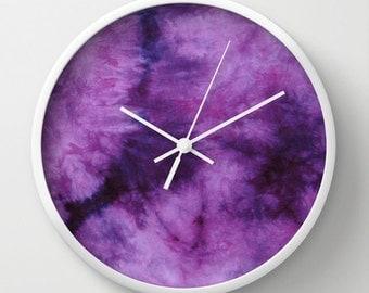 Tie Dye Wall Clock-Purple Plum-10 inch Clock