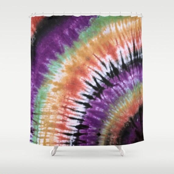 Shower Curtain-Green Purple Black Orange Tie Dye-Decorative Shower ...