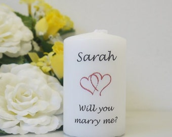 Will you marry me?  Personalised candle keepsake