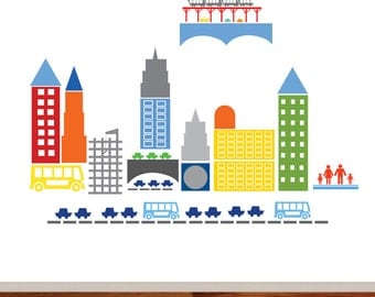 City Scape Wall Art - City Wall Art - City - Boys - Girls - Busy Transportation Town Decal - Kids Wall Decals - Wall Vinyl