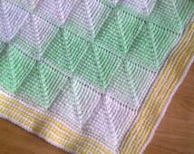 Tunisian Crochet Pattern - Tunisian Diamond entrelac baby blanket