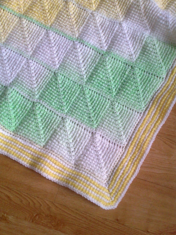 Tunisian Crochet Pattern - Tunisian Diamond entrelac baby blanket