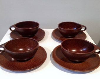 4 Modernist Roseville Raymor Autumn Brown Cups & Saucers by Ben Seibel